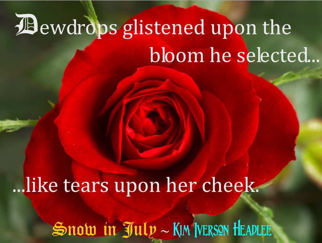 Snow-in-July-Kim-Iverson-Headlee-red-rose-dewdrops-tears-medieval-paranormal-romance